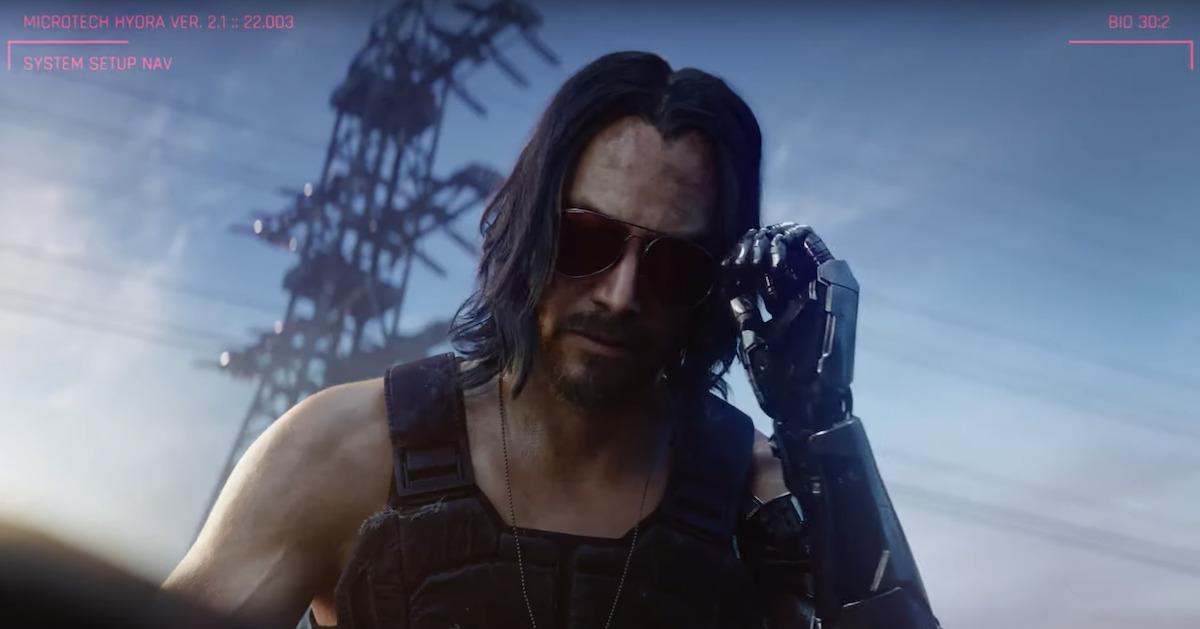 Keanu Reeves' character Johnny Silverhand in CD Projekt RED's Cyberpunk 2077