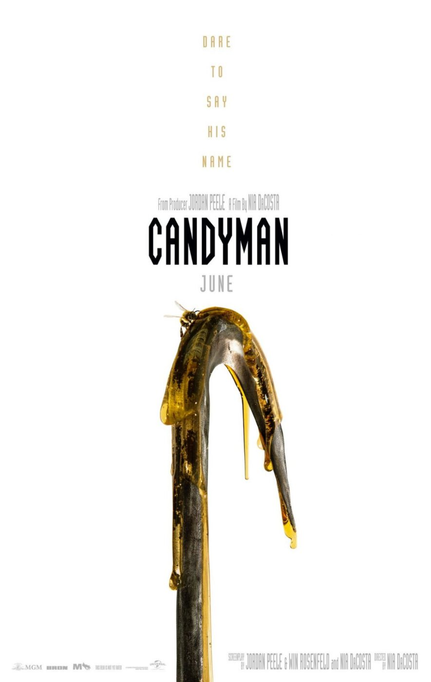 The Candyman 2020 poster featuring a crook covered with honey and a bee