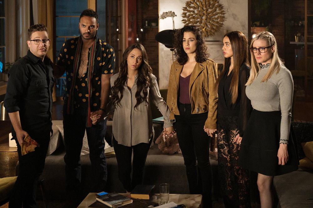 Trevor Einhorn, Arjun Gupta, Stella Maeve, Jade Tailor, Summer Bishil, and Olivia Taylor Dudley in The Magicians.