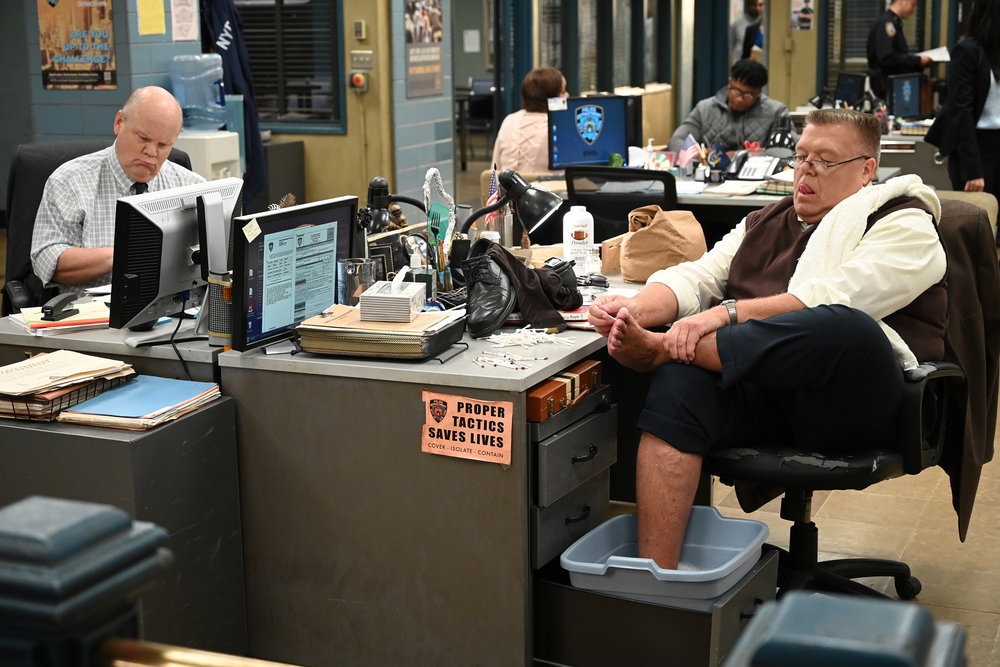 Dirk Blocker and Joel McKinnon Miller in Brooklyn Nine-Nine.