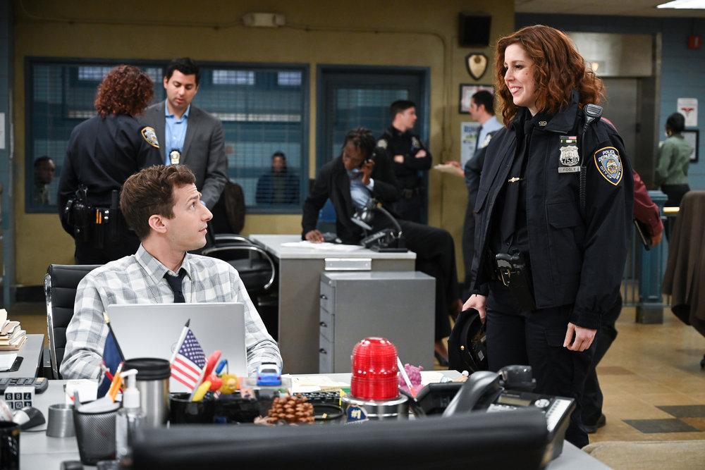 Andy Samberg and Vanessa Bayer in Brooklyn Nine-Nine