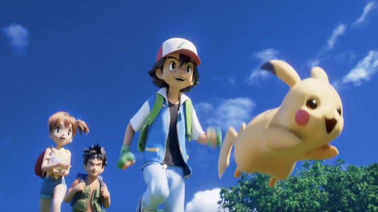 Pokémon: Mewtwo Strikes Back - Evolution scene with Ash, Misty, Brock and Pikachu.