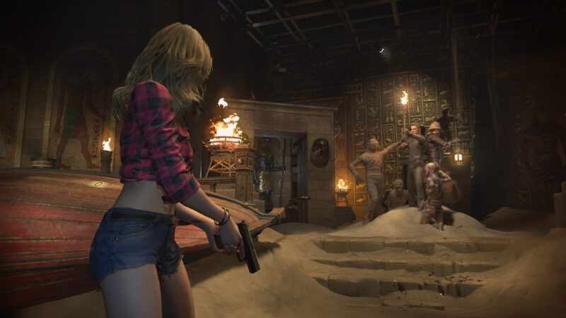 Becca searching the abandned amusement park in Resident Evil Resistance.