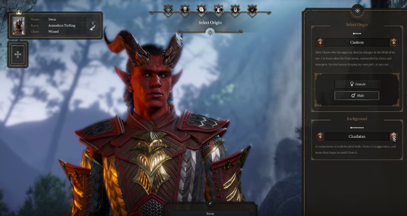 Sample tiefling Wizard in Baldur's Gate III
