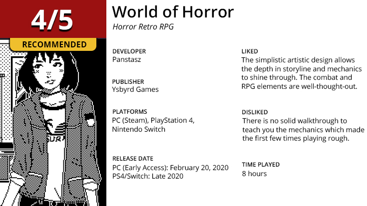 World of Horror summary image with developer, publusher, pros and cons.