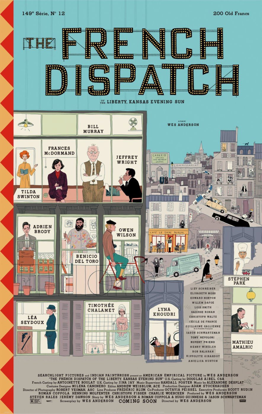 The poster of The French Dispatch featuring the actors and their respecitive roles.