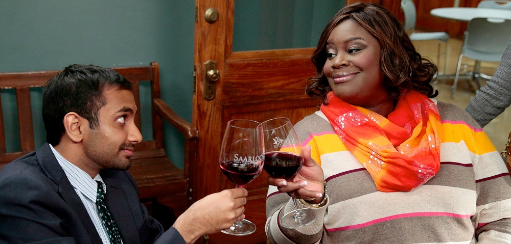Aziz Ansari and Retta in Parks and Recreation