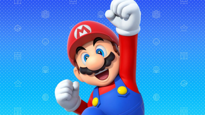 Mario excited and fist pumping.