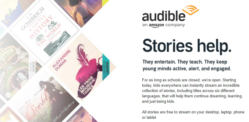 Screenshot of Audible's Stories page detailing the free story initiative during the COVID-19 shutdown of schools.