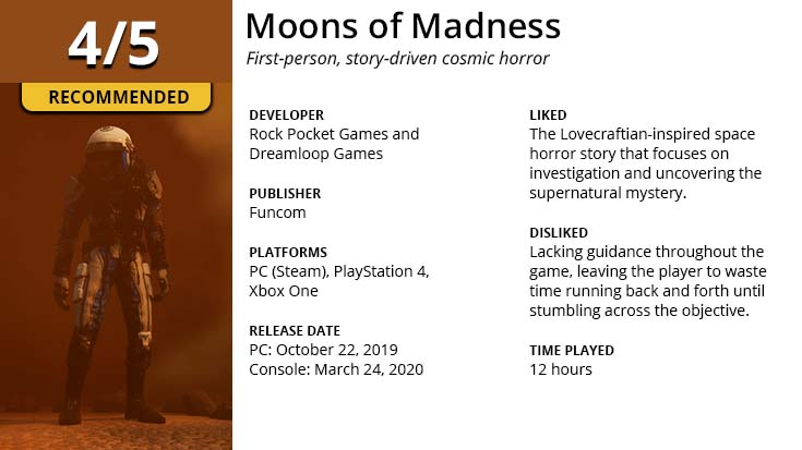 Moons of Madness game review summary information.