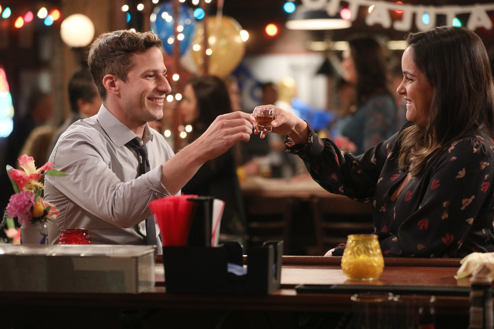 Still of Andy Samberg and Melissa Fumero in Brooklyn Nine-Nine