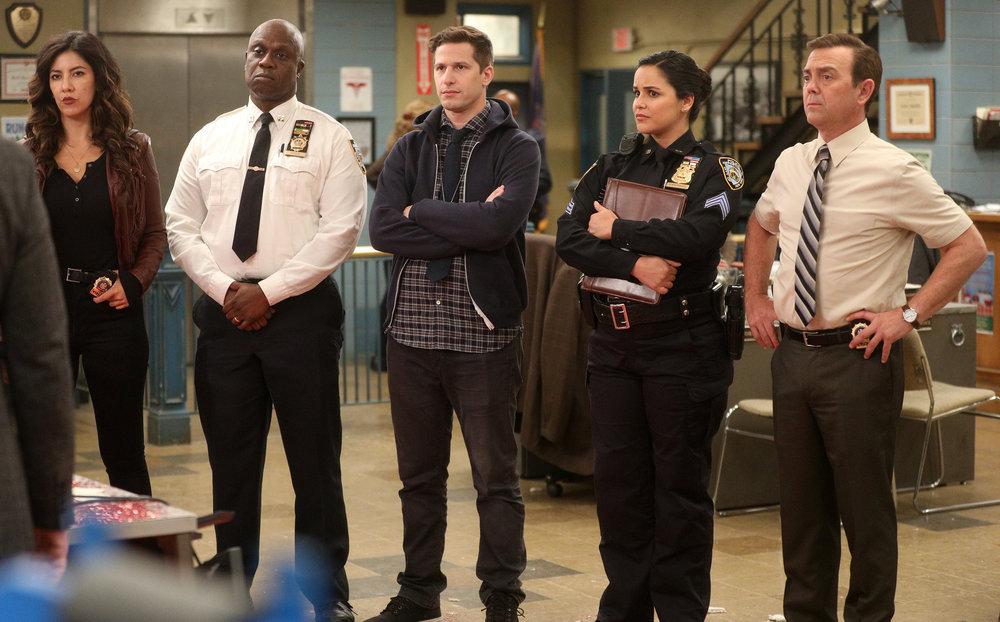 Still of Stephanie Beatriz, Andre Braugher, Andy Samberg, Melissa Fumero and Joe Lo Truglio in Brooklyn Nine-Nine