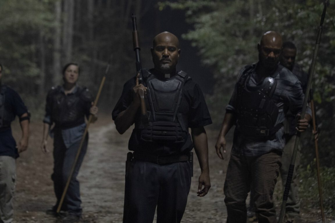 Gabriel leads  a search party on The Walking Dead