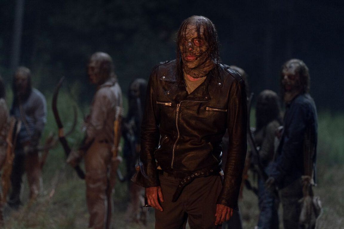 Negan watches Alpha's attack on Hilltop on The Walking Dead