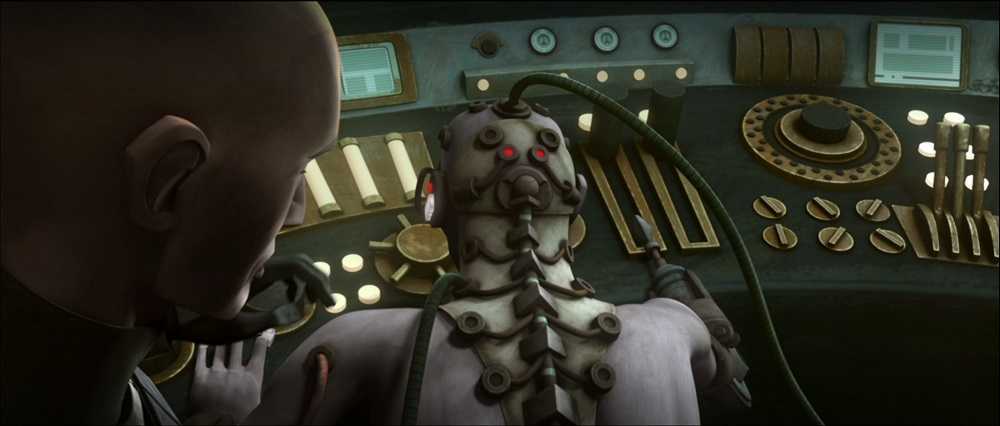 Rex disconnects Echo from the central computer system in The Clone Wars.