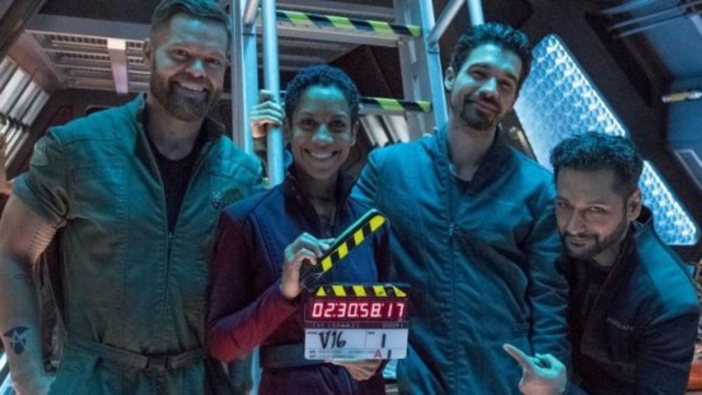 The main cast of The Expanse on the set of Season 5 production.