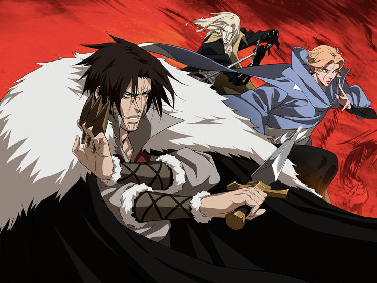 Trevor Belmont, Alucard, and Sypha from Castlevania.