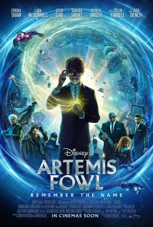 Artemis Fowl movie poster featuring main characters.