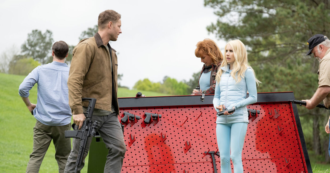 Justin Hartley, Emma Roberts in THE HUNT