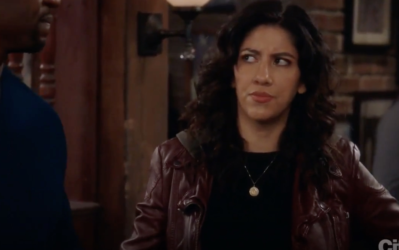 rosa diaz wearing a leather jacket