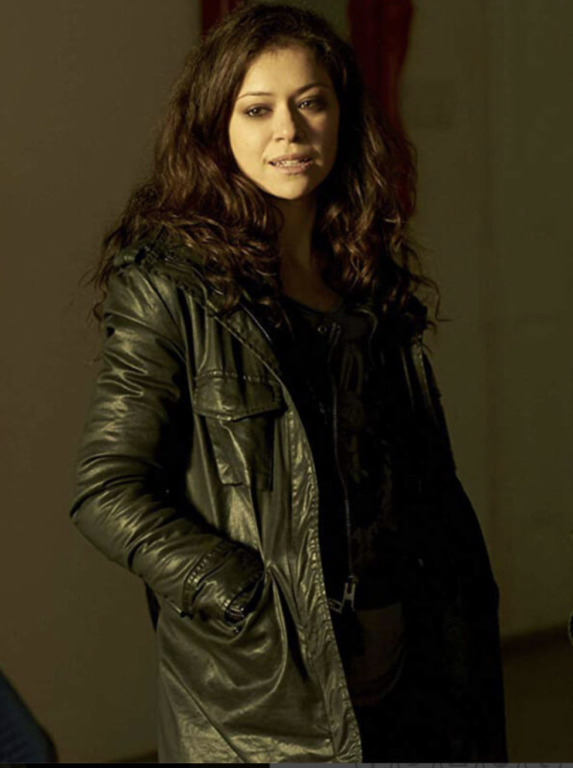 sara maning wearing a leather jacket in orphan black