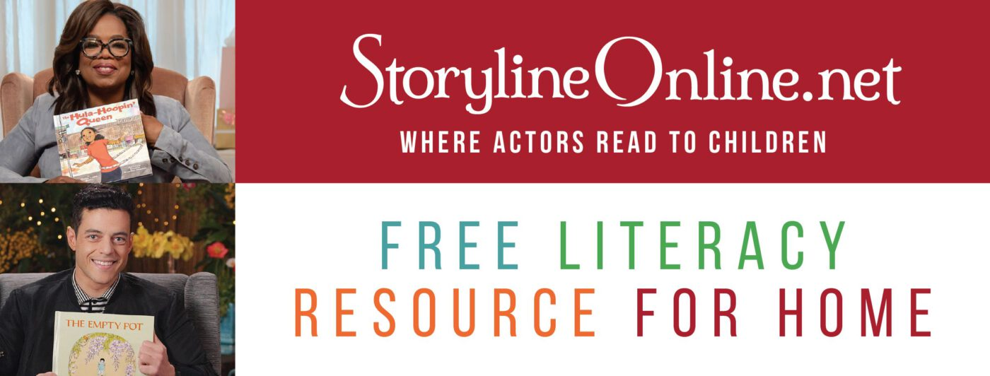 Storyline Online's Facebook cover image featuring Oprah Winfrey and Rami Malek.