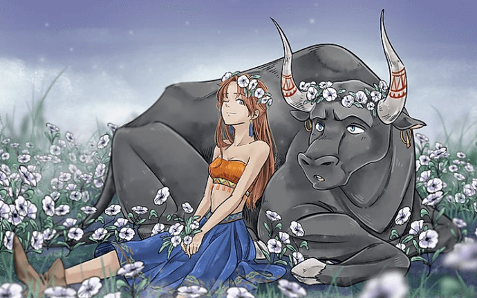 Webtoon comic The Witch and The Bull featuring Aro and Tan.