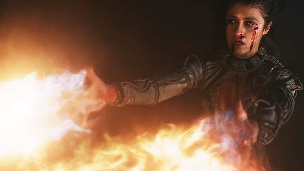 Yennefer using her chaos to unleash flames against the Niflgaard Army.