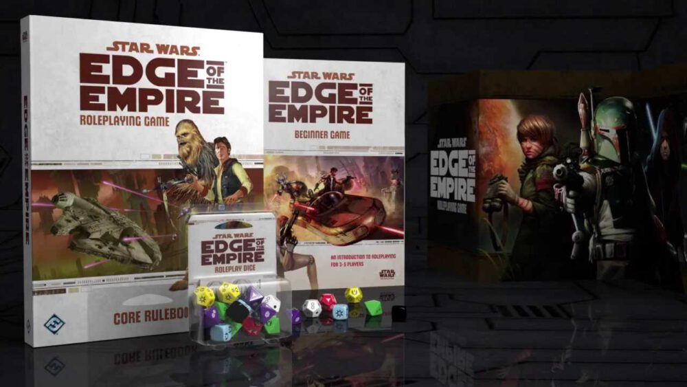 The Star Wars Edge of the Empire Core Rulebook with the Edge of the Empire Beginner Game and dice.