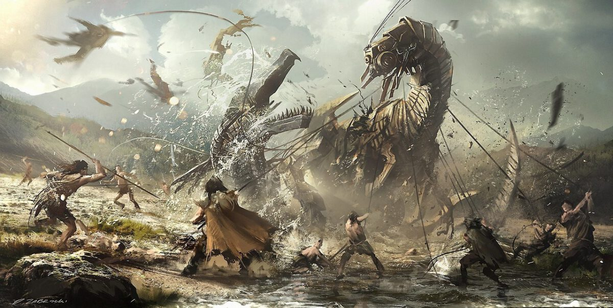 Concept art for Horizon Zero Dawn, featuring several tribal humans fighting and restraining a massive Machine.
