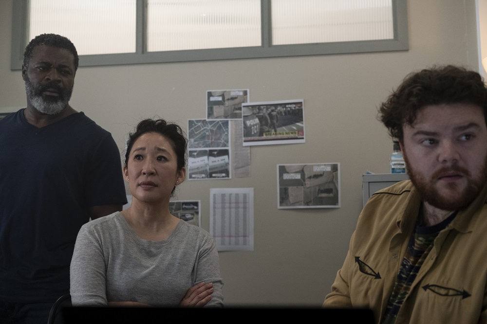 Still of Danny Sapani, Sandra Oh and Turlough Convery in Killing Eve