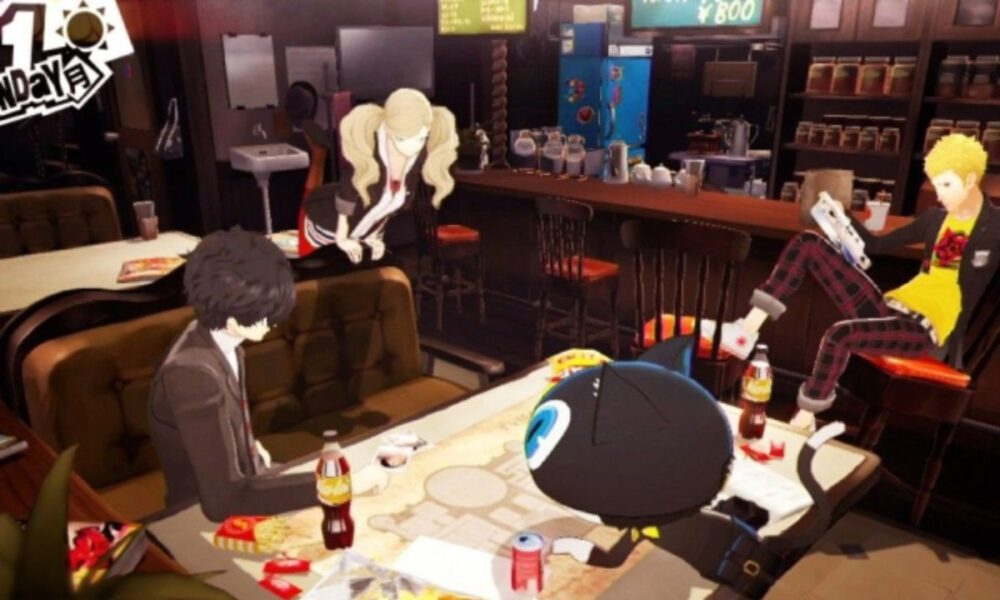 Ren and his friends lounge in LeBlanc's cafe in Persona 5.