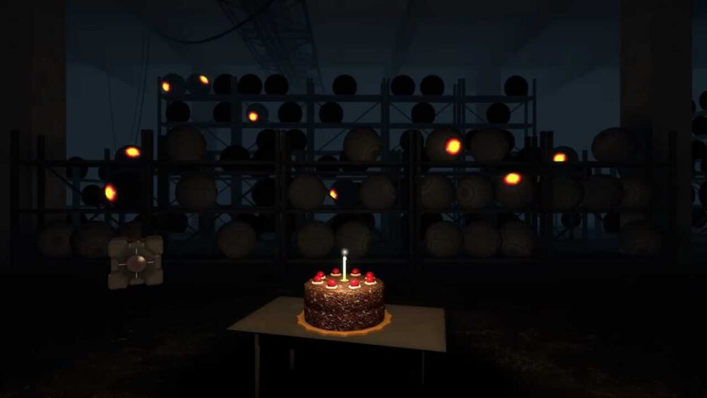 The frequently mentioned cake of Portal, appearing in an end credits scene.