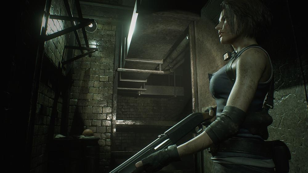 Jill wielding her signature shotgun in Resident Evil 3 Remake.