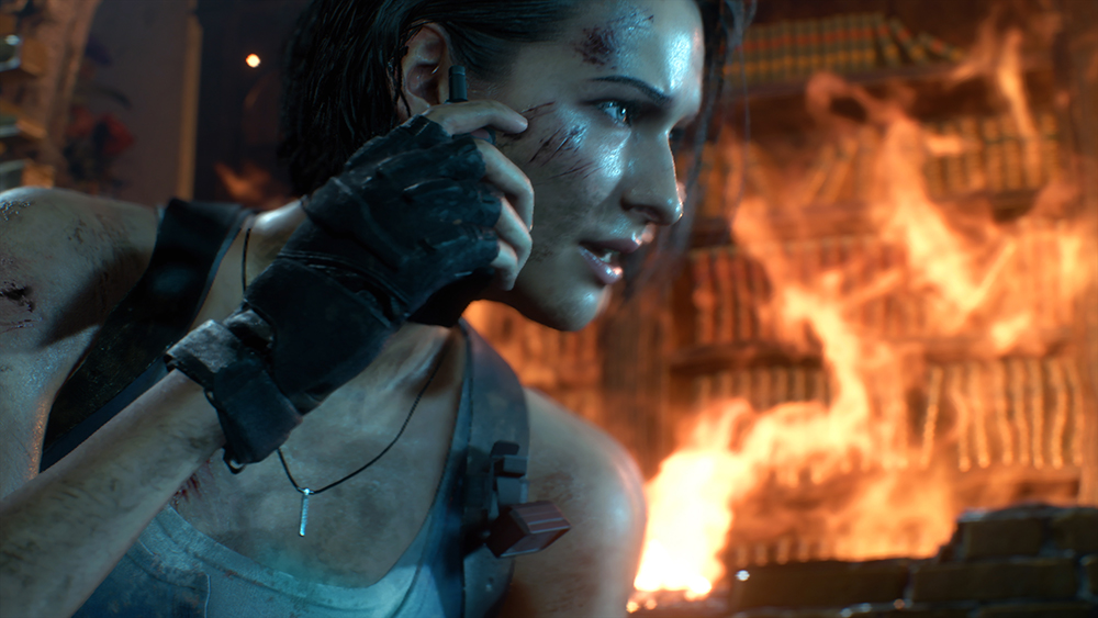 Jill radioing back to Carlos while trying to lose Nemesis in Resident Evil 3 Remake.