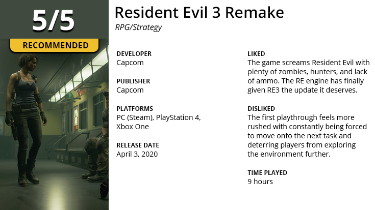 Resident Evil 3 Remake game review summary.