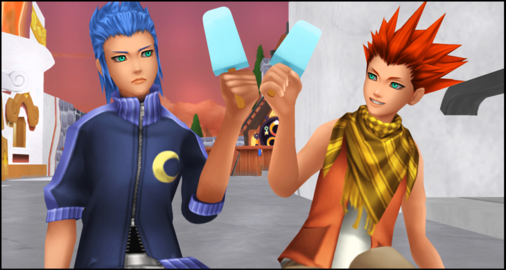 Isa and Lea enjoy sea salt ice cream in Kingdom Hearts: Birth by Sleep.