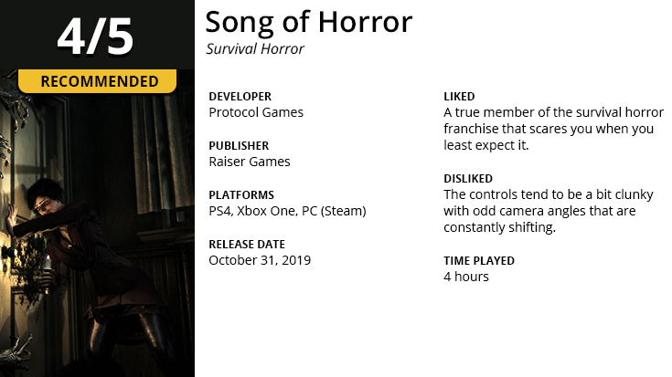 Song of Horror Game Review Summary