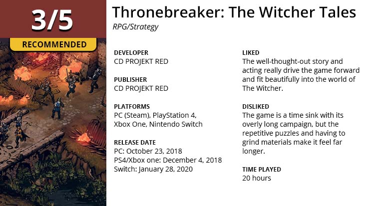 Summary for Thronebreaker: The Witcher Tales