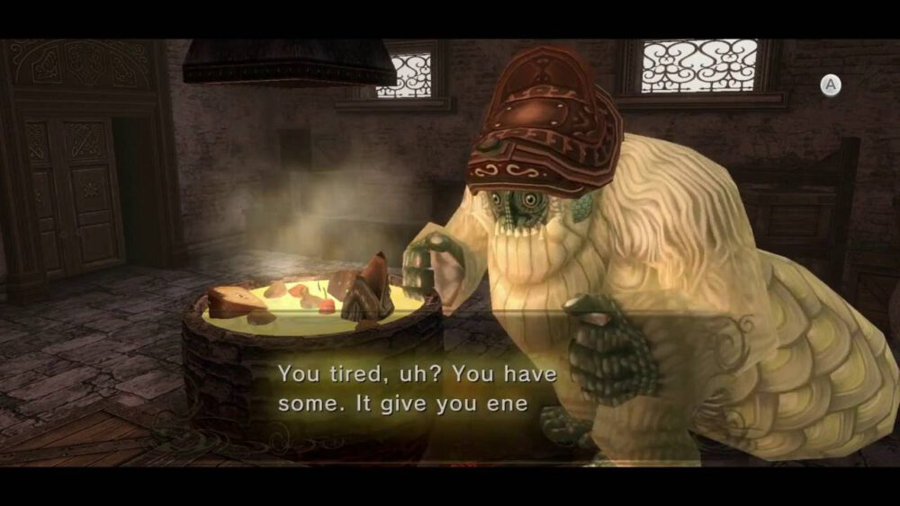 Yeto offering some of his Superb Soup to Link in The Legend of Zelda: Twilight Princess.