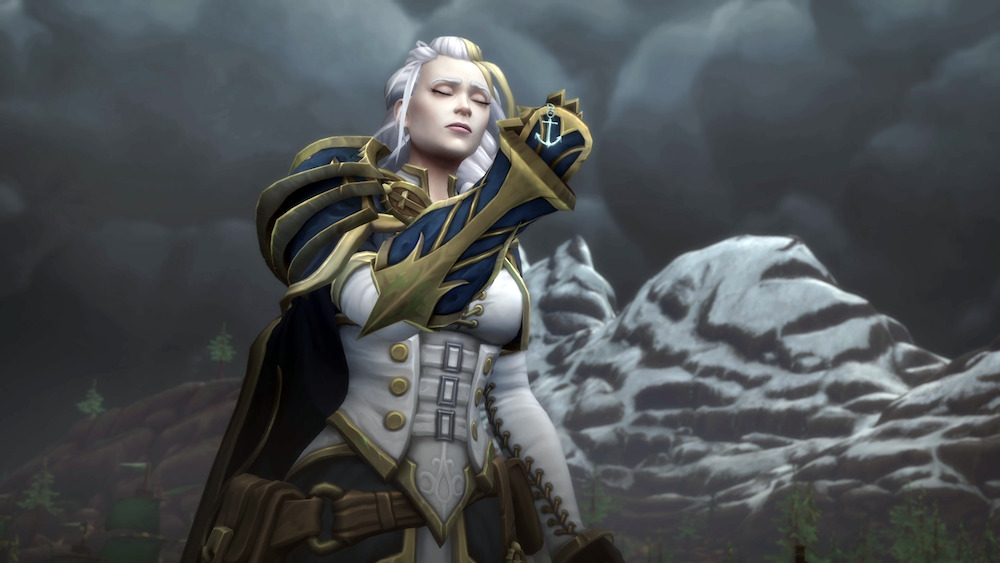 Jaina using her pendant to call back the lost naval army in World of Warcraft.
