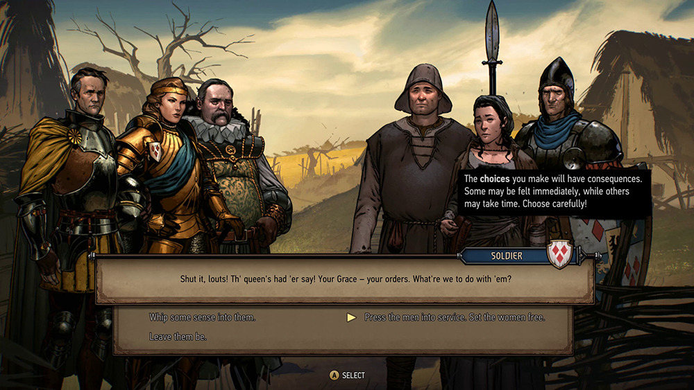 Queen Meve choosing what to do with villagers in Thronebreaker: The Witcher Tales.