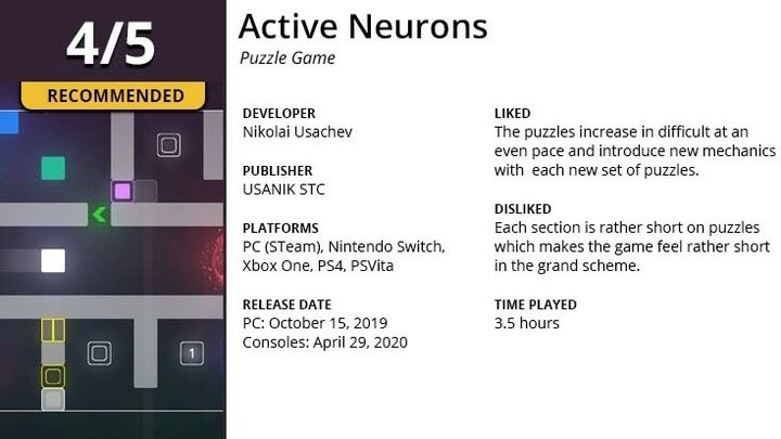 Game review summary for Active Neurons.