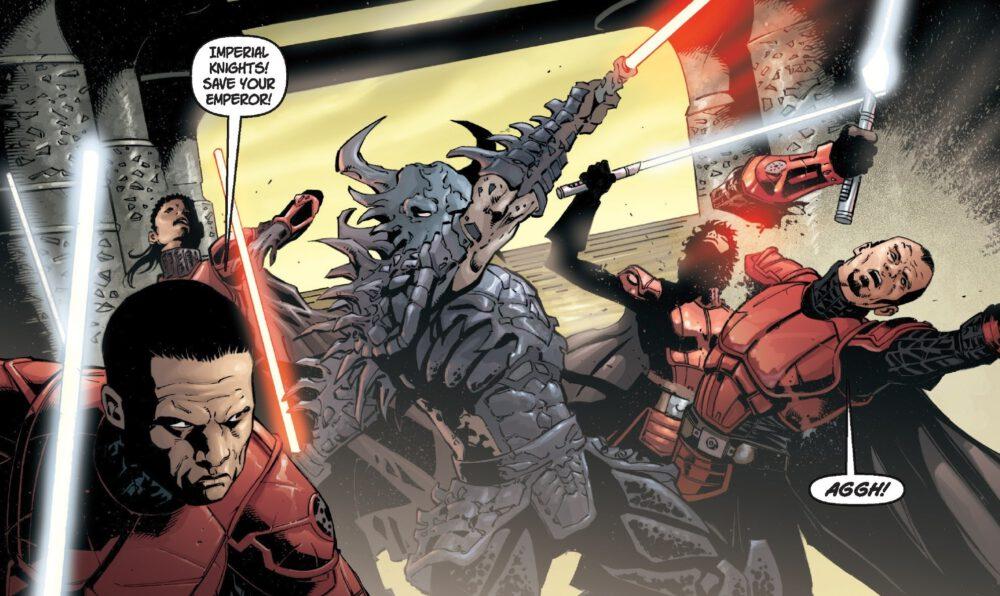 Darth Krayt attacks Emperor Roan Fel in Star Wars Legacy