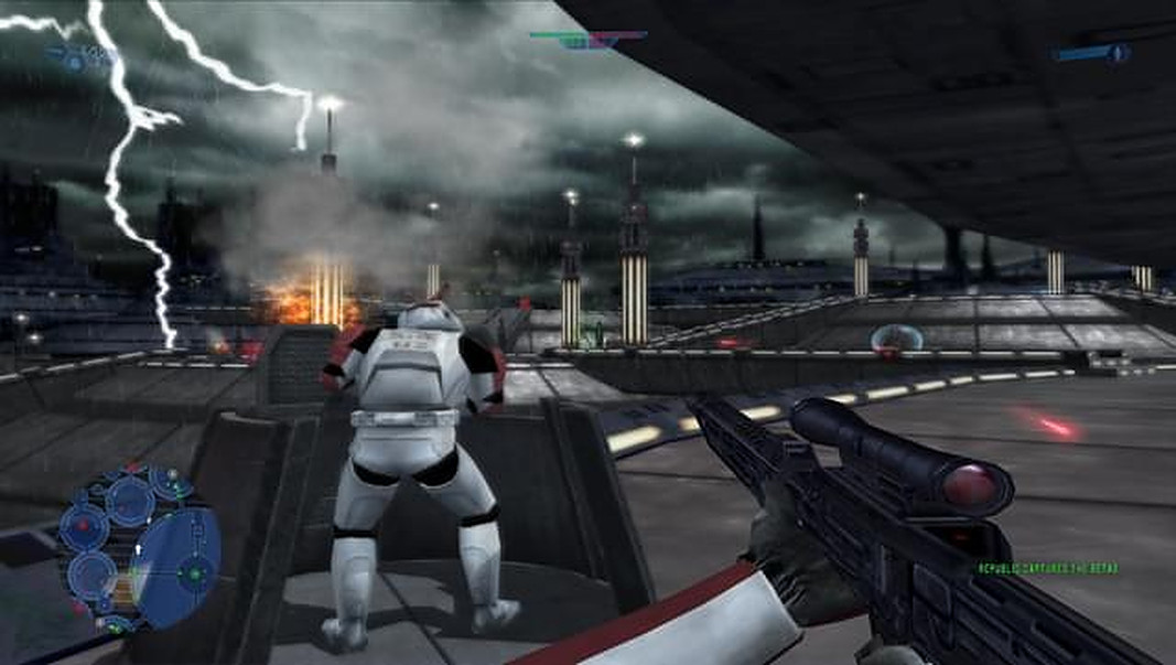 Republic clones defend Kamino from a Separatist droid invasion in Star Wars Battlefront 2
