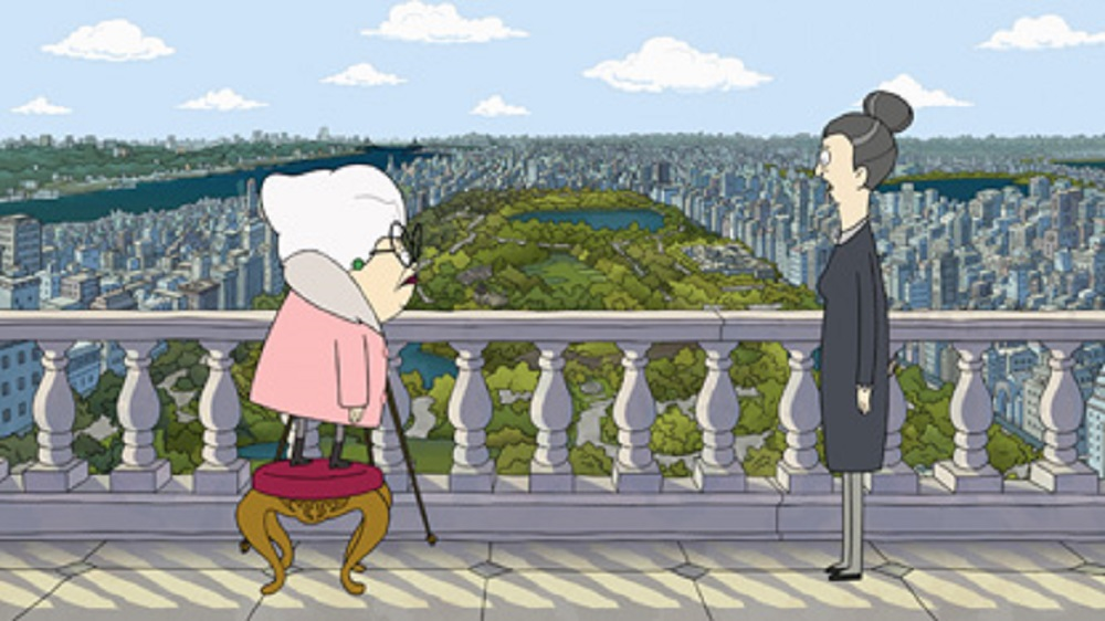 Still of Bitsy (voiced by Stanley Tucci) and Helen (voiced by Daveed Diggs) in Central Park.