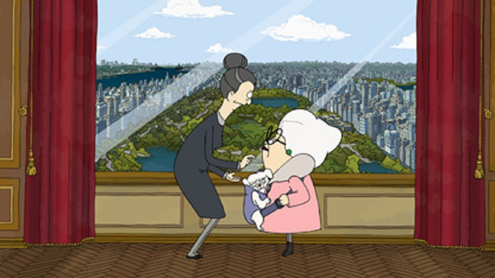 Helen (voiced by Daveed Diggs) and Bitsy (voiced by Stanley Tucci) in Central Park.