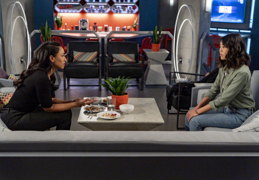 Candice Patton as Iris West - Allen and Victoria Park as Kamilla on The Flash