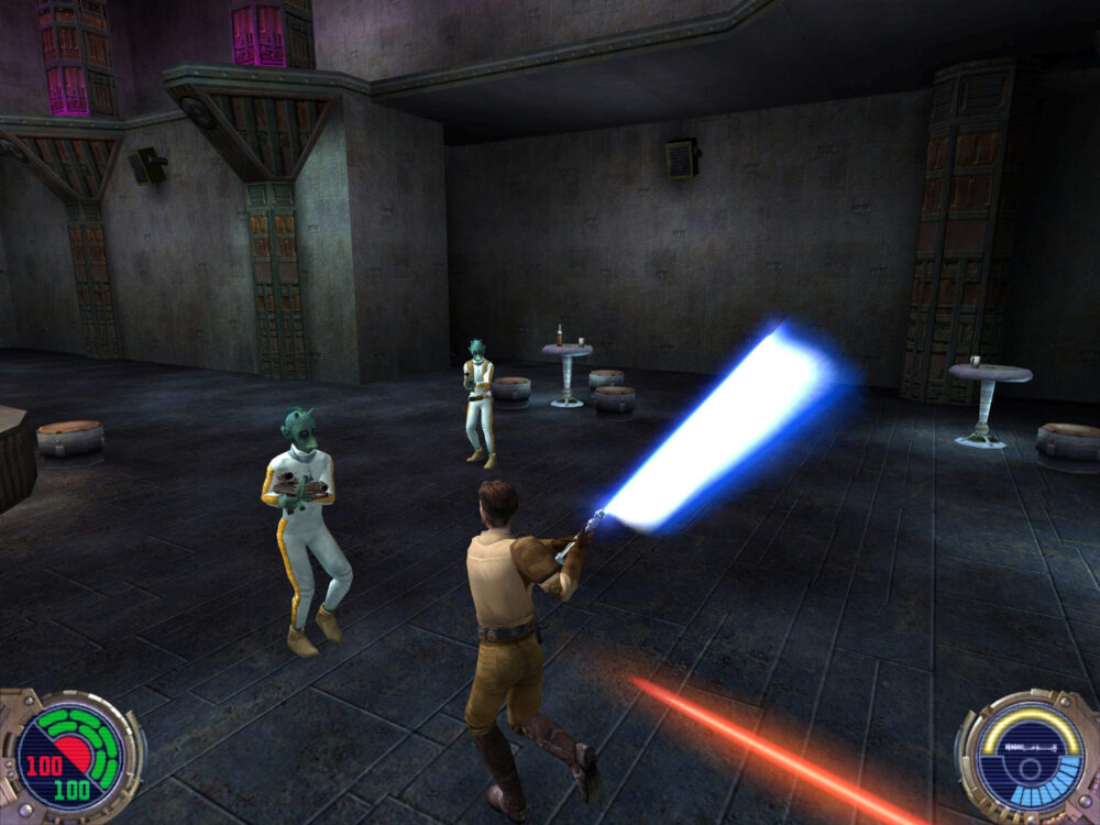 Kyle Katarn faces opponents with a lightsaber in Star Wars Jedi Knight 2 Jedi Outcast