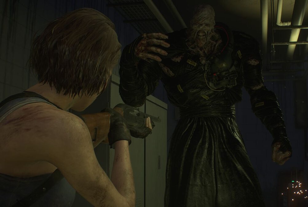 Jill Valentine faces off against Nemesis in Resident Evil 3